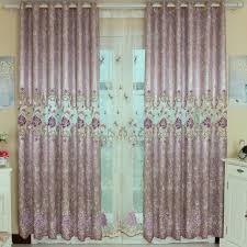 bedroom floral light purple curtains