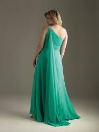 line one shoulder floor length chiffon plus size evening dress