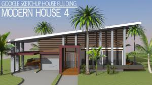 modern house building google sketchup speed building modern house 4 youtube