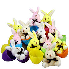 easter eggs filled with toys 12 filled easter eggs with miniature stuffed bunnies in pastel
