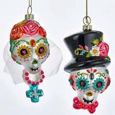 kurt adler day of the dead groom sugar skull glass ornaments