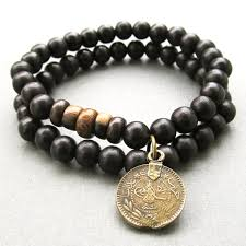 bead bracelet with charm images Mens double black wooden beaded stretch bracelets with antique jpg