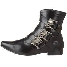 s boots with buckles demonia s ankle boot with silver skull buckles brogue 06