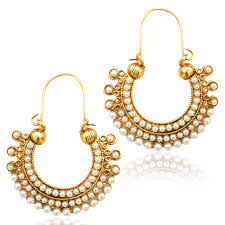 hoops earrings india buy pearl golden finish ethnic bali hoop indian vintage ethnic