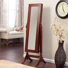 Antique Jewelry Armoires Heritage Jewelry Armoire Cheval Mirror Cherry Walmart Com