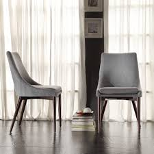 grey tweed padded dining room chairs combined white sheer curtains