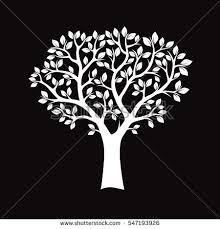 white tree white tree on black background vector stock vector 547193926