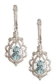 aquamarine drop earrings effy 14k white gold diamond aquamarine drop earrings