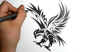 simple eagle drawing how to draw an eagle tribal tattoo design