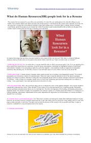 Keywords For Human Resources Resume What Do Human Resources Hr People Look For In A Resume Wisestep