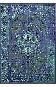 amazon com traditional vintage inspired overdyed fancy blue rug