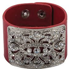 leather cuff bracelet with images Crystal wide leather cuff bracelet in bracelets at schneider saddlery jpg