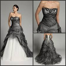 white black wedding dress discount strapless black white color accented bridal