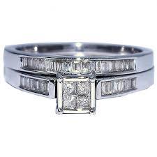 Princess Cut Wedding Ring by Princess Cut Wedding Ring Set White Gold 0 3ctw Real Diamond 2