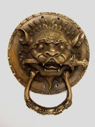 foo dog door knocker antique vintage collectible copper foo dog fudog lion