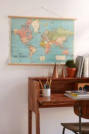 Hanging World Map Art Print Teen Desk Bedroom Vintage And Study