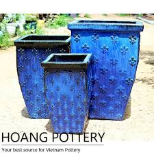 Ceramic Garden Decor Square Ceramic Pots Garden Decor Hpan031 Hoang Pottery