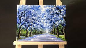 pretty tree line road acrylic painting
