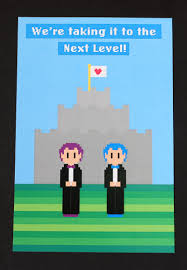 video game wedding invitation postcard style 8 bit