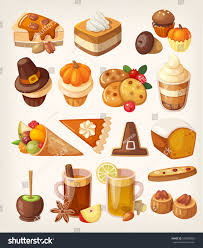 set colorful tasty thanksgiving day desserts stock vector