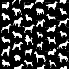 mod dog silhouettes white on black large scale wallpaper