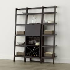 sawyer mocha leaning wine bar with two 18 u0027 u0027 bookcases crate and
