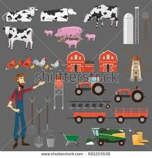 big farm house illustration process harvesting crops equipment agriculture stock