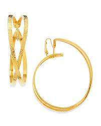 hoop clip on earrings jose barrera gold plated disc necklaces bracelet x hoop