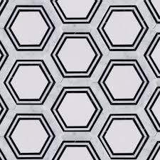 Floor And More Decor Master Bathroom Floor Carrara Thassos Hexagon Marble Mosaic