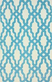 blue and white wool and cotton area rug