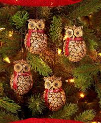 owl pine cone ornaments tree trimming decoration