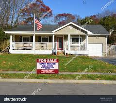 Us Flag For Sale American Flag Pole Real Estate Sale Stock Photo 245882248