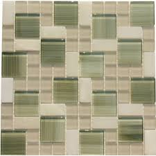 glossy bright green glass with white marble mosaic tile mesh