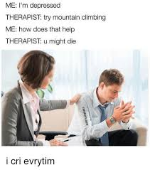 Therapist Meme - me i m depressed therapist try mountain climbing me how does that