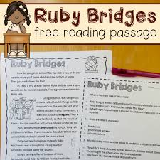 free reading comprehension passage a ruby bridges worksheet the