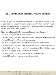 construction resume cover letter top8constructionsecretaryresumesamples 150516111918 lva1 app6891 thumbnail 4 jpg cb 1431775210