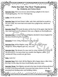 theater script for pete the cat the thanksgiving by