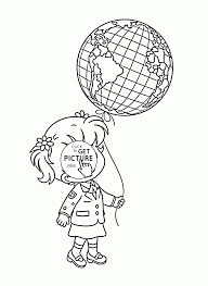 and balloon globe earth day coloring page for kids
