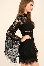 black lace dress black dress lace dress sheath dress bell sleeve dress
