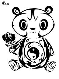 tribal tattoos with roses designs black tribal panda cub with rose tattoo design by blackbutterfly006