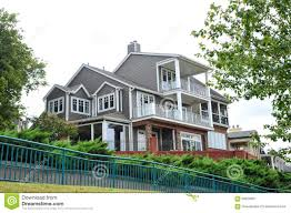 regal hilltop modern victorian style mansion stock photo image