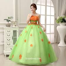 light green wedding dress strapless handmade flowers lime green layered tulle quinceanera