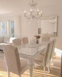 Dining Room Chair And Table Sets Sleek White Table With Ivory Beige Dining Chairs Top The