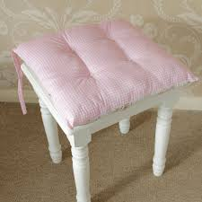 gingham pink rose vintage chic seat pad chair dining room cottage