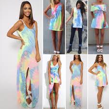 tie dye wedding dress summer womens sleeveless tie dye colorful rainbow