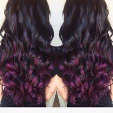 dark brown almost black hair with dark purple tips by janie