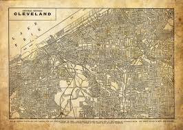 Cleveland Ohio Map by Cleveland Ohio Street Map Vintage Sepia Grunge Print Poster