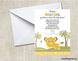 baby shower thank you cards baby shower thank you card lion king