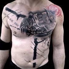 chest machine trash polka tattoo best tattoo ideas gallery