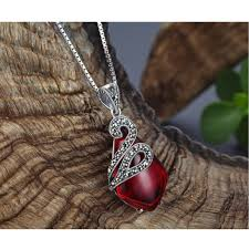 silver drop pendant necklace images Thai silver and marcarsite red drop pendant necklace splendid jpg